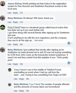 Run Anglia Facebook group's thread about issues with Active Networks