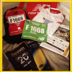 Swag from the marathon - where else do you get pasta in your swag bag!