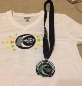 The Night Run 2014, 5k, 10k, Tech Shirt, Glow in the Dark Medal, May 10, 2014