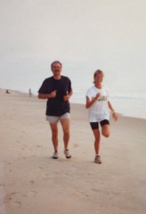 Running on the beach in Virginia Beach, 1993. Back when I wore really baggy clothes and ran in cotton! Yikes!