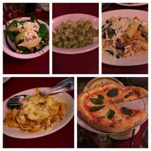 Quartino, Chicago, Spinach Salad, Gnocchi, Pesto, Tagliatelle Bolognese, Margarita Pizza, Rigatoni