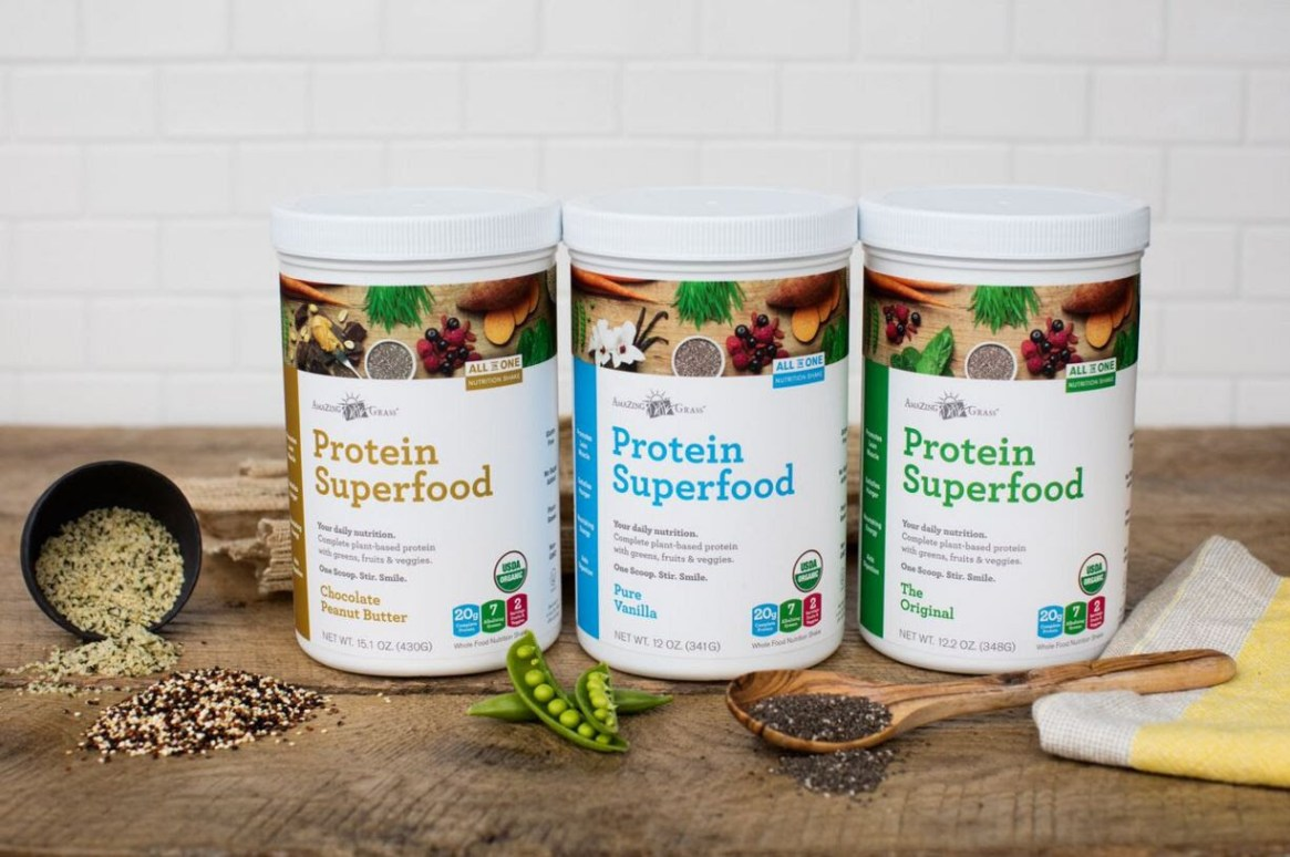 Amazing Grass, Protein Superfood, Chocolate Peanut Butter, Chia, FitApproach, SweatPink, Pure Vanilla, The Original