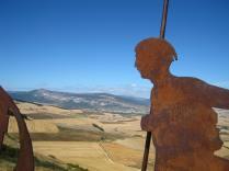 The peregrino sculpture on Alto de Perdon.