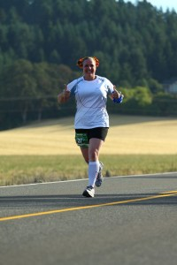 Maryalicia smiles for the camera along the 2012 Oregon Wine Country Half Course