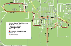 """The course map. - Photo by Sisters """"Better Half"""" Marathon"""