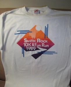 Joe's Smith Rock 10k shirt from 1989. Slightly less rare than the Highline Road Run shirt.