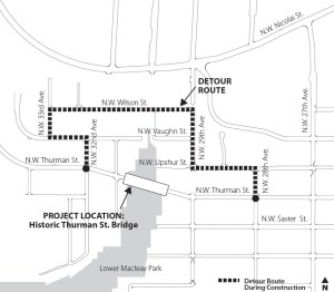 Vehicles will need to take this detour to get up to the Leif Erickson gate parking area. Click for a larger map.