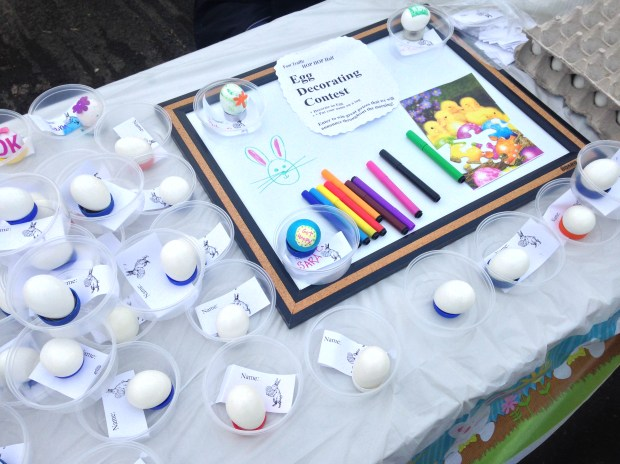 An egg decorating station for the kids (or adults)-- prizes were awarded after the race for the best decorated eggs.