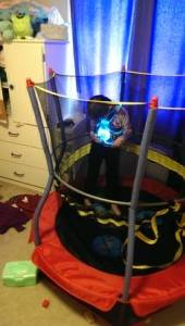 My six year old wearing the Nox gear in her trampoline- with the Nox on backwards /sigh a hubby