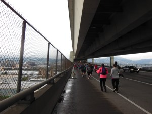 Running on the bottom deck of the Fremont Bridge