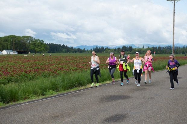 We aquired quite the group by mile 10 of the Hippie Chick Half Marathon