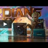 baby groot in guardians of the galaxy dancing to mr blue sky