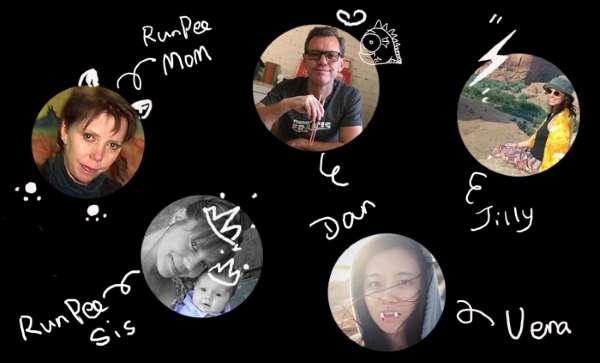 RunPee Family: RunPee Mom, Dan Gardner (creator/developer), Jilly (co-creator, blog editor), RunPee Sis (horror movie fan), Vera Gardner (RunPee China CEO). Not pictured: Dana Simone Stovall, Shani Ogilvie, and Shane Edwards.
