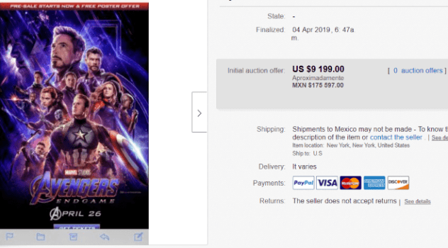 ebay endgame ticket price screenshot of almost ten thousand dollars - sold!