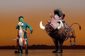 Meerkat Timon and Warthog Pumbaa in the Lion King Broadway musical