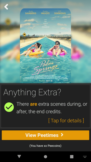RunPee:NX Movie Info screen design