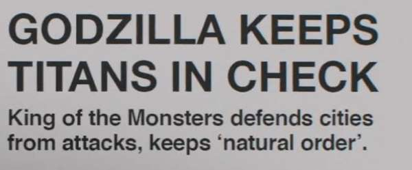 Godzilla keeps Titans in check. King of the Monsters defends cities from attacks, keeps 'natural order'.