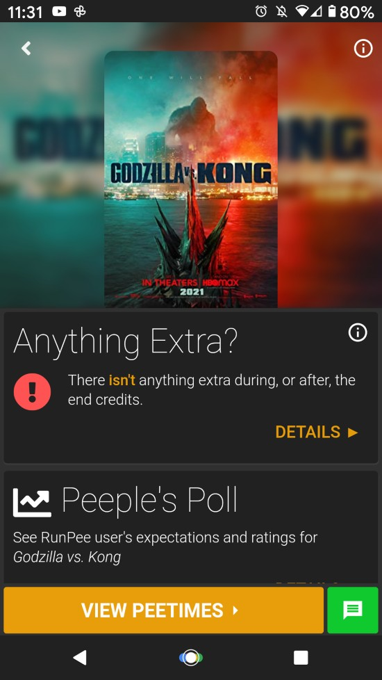RunPee app: Movie Info Screen