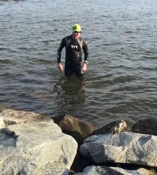 pre-swim plunge