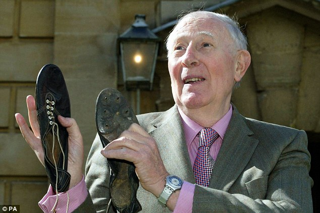Roger Bannister and his spikes used when he ran his spectacular 3:59.4 mile in 1954