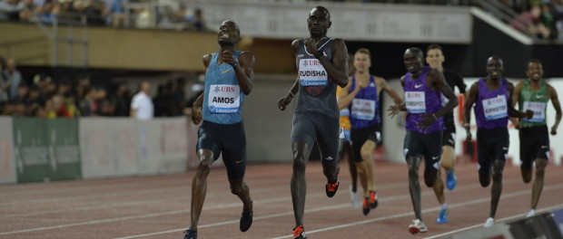 Rudisha would lose out to Amos over the last 100m