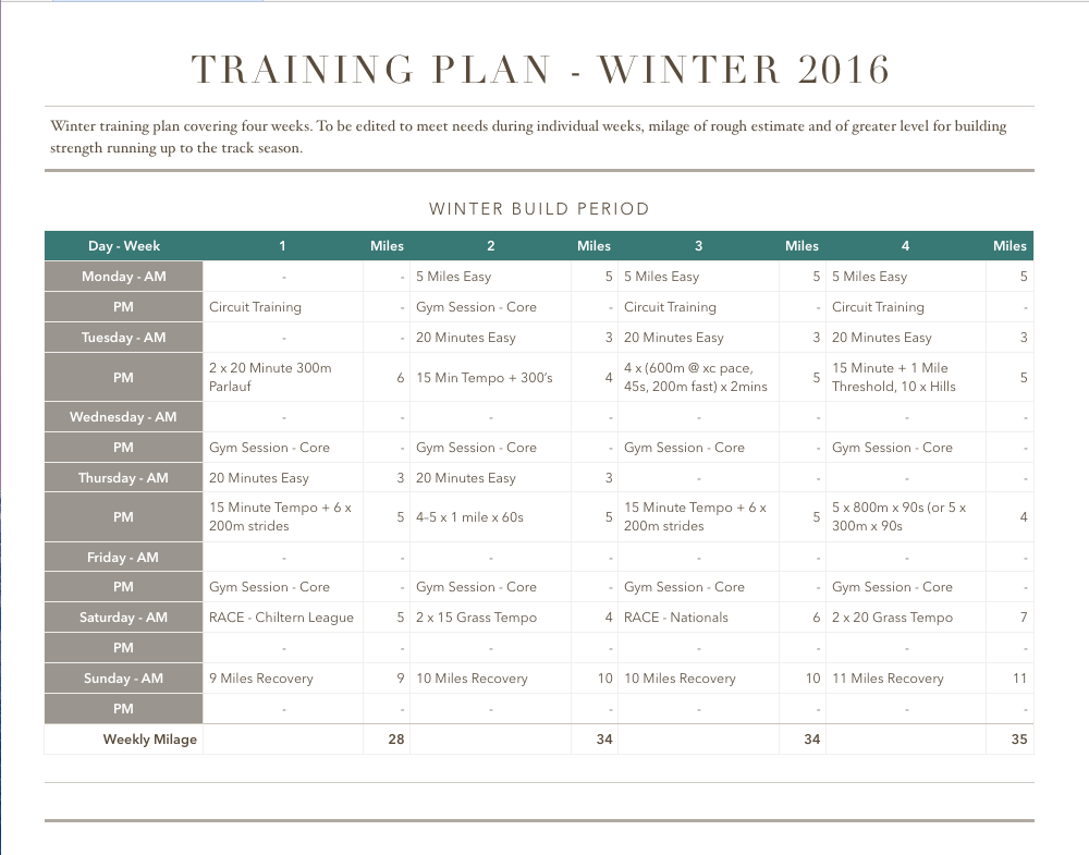 running training plan template run reporter