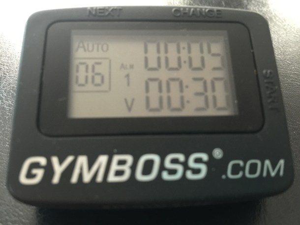 gymboss timer stretching set-up
