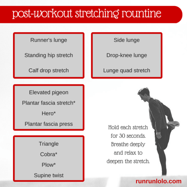 12-minute post-run stretching routine