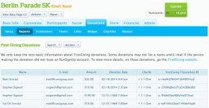 First Giving Transaction Report
