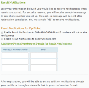 Notification sign up