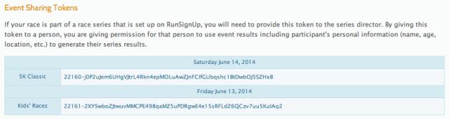Event Sharing Token