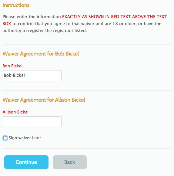 Waiver Signatures for each participant