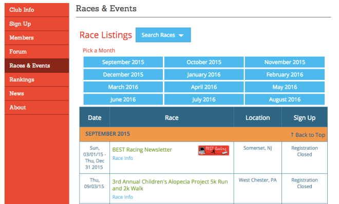 Calendar Widget in Race Website