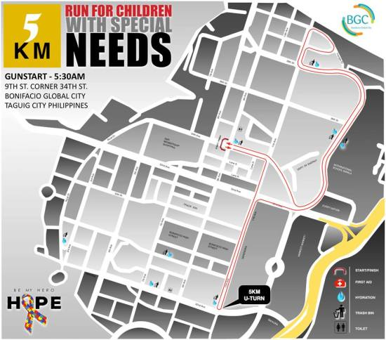 Hope Run 2016 5K Route