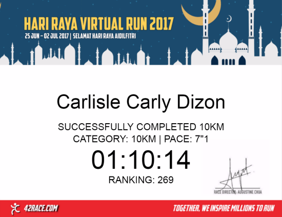 Hari Raya Virtual Run 2017 - Finisher Certificate