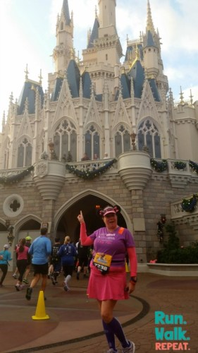 Back Side of Castle 2015 Marathon Weekend with Anna, Elsa and Kristoff. For Princess Half Marathons past Royal Mickey and Minnie have been up there, Cinderella and Her Prince and the Royal Trumpeteers playing Theme from Rocky.