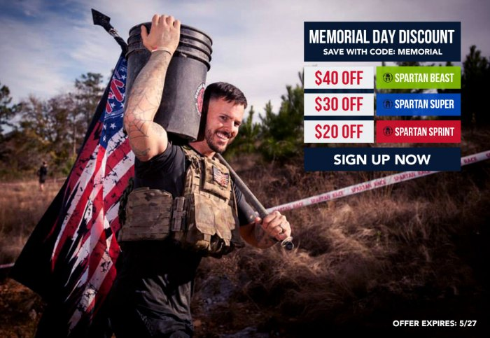 Spartan Race Memorial Sale