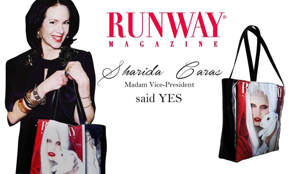 Runway-Magazine-Editor-in-Chief-Eleonora-de-Gray-Sharida-Caras-Stephan-Caras-Runway-Magazine-shopping-bag