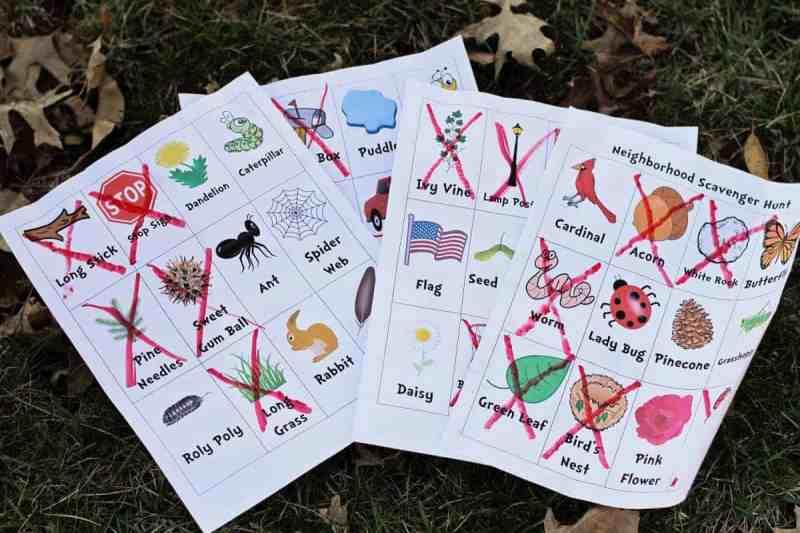 Nature Neighborhood Scavenger Hunt for kids printable