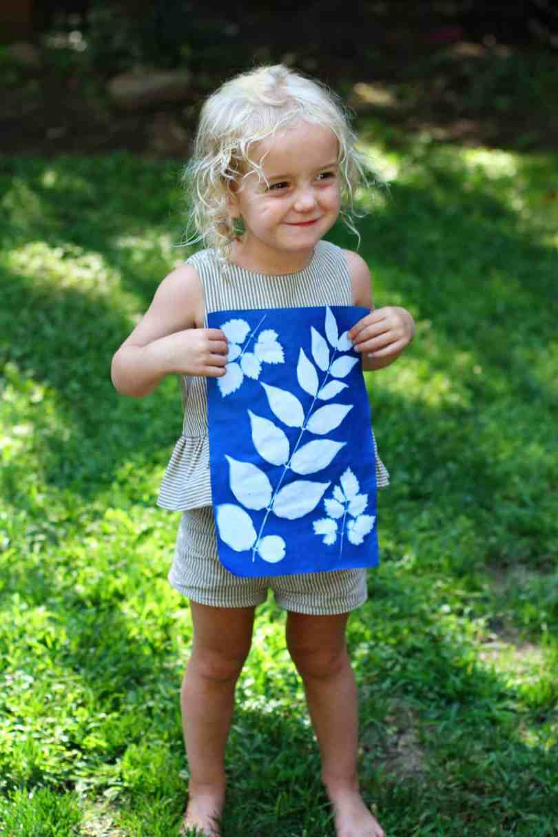 making sun print paper nature art with kids