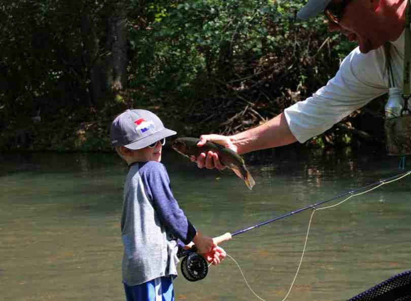 fly fishing dry run creek arkansas with kids
