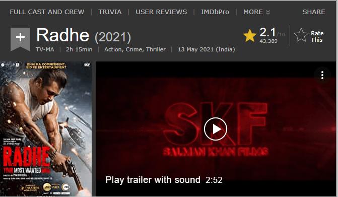 IMDB ৰেটিঙত ছলমান খানৰ ছবিৰ মুখ থেকেচনিঃ 1