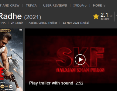 IMDB ৰেটিঙত ছলমান খানৰ ছবিৰ মুখ থেকেচনিঃ 6