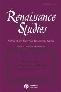 Cover of Renaissance Studies 19(5), 2005