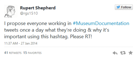 Twitter post launching #MuseumDocumentation