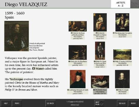 The Artist screen for Velázquez from the National Gallery's Micro Gallery collection information kiosk, showing a portrait of Velázquez, a brief biography, and thumbnails with links to nine of his paintings in the Gallery's collection.