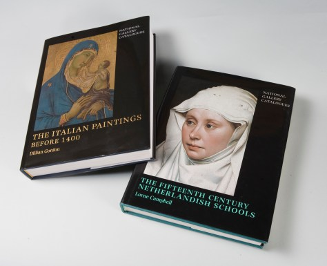Two National Gallery paintings catalogues, 'The Fifteenth Century Netherlandish Schools' by Lorne Campbell and 'The Italian Paintings before 1400' by Dillian Gordon.