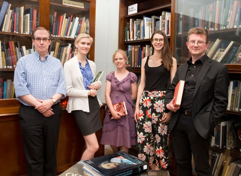 Members of the National Gallery's Collection Information Project team photographed in the Research Centre. Left to right: David A. Phillips, Author; Elisabeth Ayars, Randolph College Intern; Pippa Wainwright, Collection Information Project Manager; Nell Brown, Editor; Rupert Shepherd, Collection Information Manager.