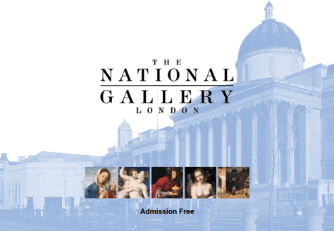 The home page of the National Gallery's first website, showing a background image of the Gallery; its logo; thumbnail details of five paintings; and the tagline 'Admission Free'.