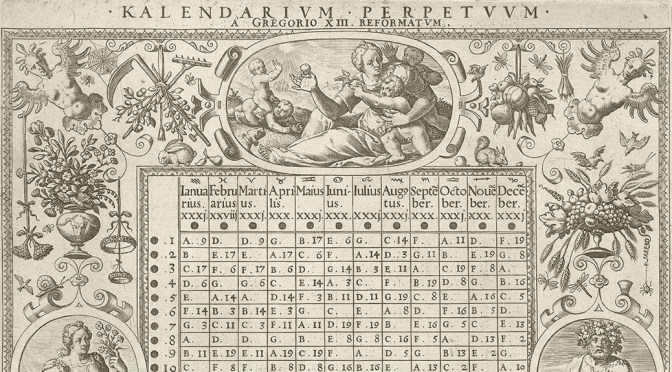 Detail from an engraving by Hans Sadeler of a Gregorian perpetual calendar